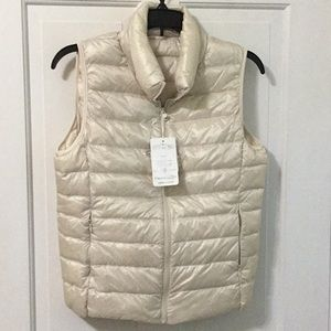 Packable Down ultra lightweight vest Ivory Small